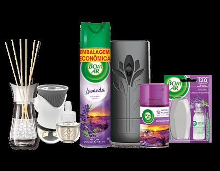 Produtos Bom Ar® com fragrância de lavanda