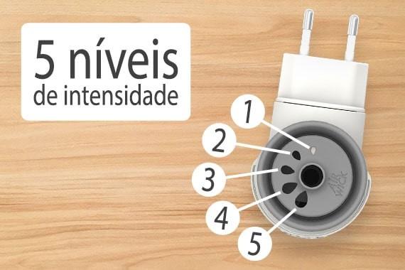 Bom Ar® Difusor Elétrico possui 5 níveis de intensidade